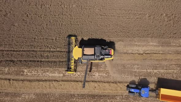 Aerial of Harvester in Action