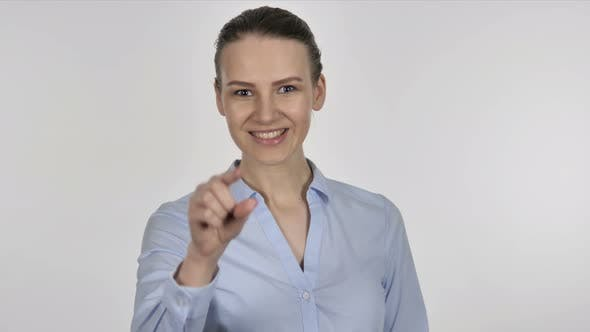 Thumbnail for Inviting Gesture By Young Businesswoman on White Background