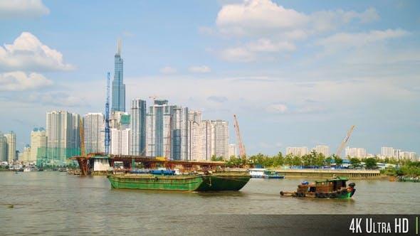 Thumbnail for 4K Ho-Chi-Minh-Stadt Skyline entlang der Song Sai Gon Fluss