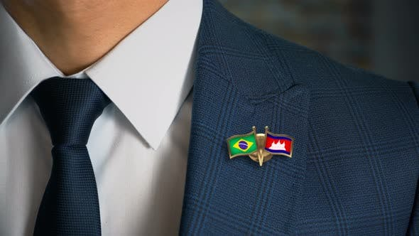 Businessman Friend Flags Pin Brazil Cambodia