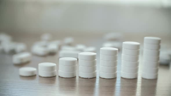 Thumbnail for Columns of Tablets on the Table Close-up. The Concept of Increasing the Price of Medicines