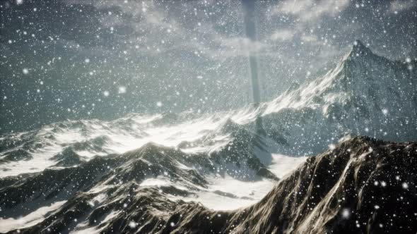 Thumbnail for Heavy Snowing, Focused on the Snowflakes, Mountains in the Background