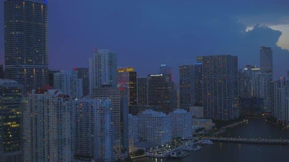 Aerial Twilight Footage Miami Brickell Business District
