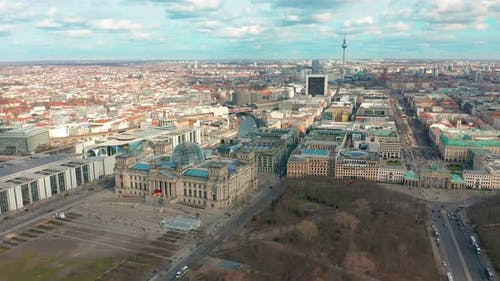 BERLIN, GERMANY - MARCH 28, 2019. Berlin Brandenburg Gate and Reichstag Panorama. Aerial View