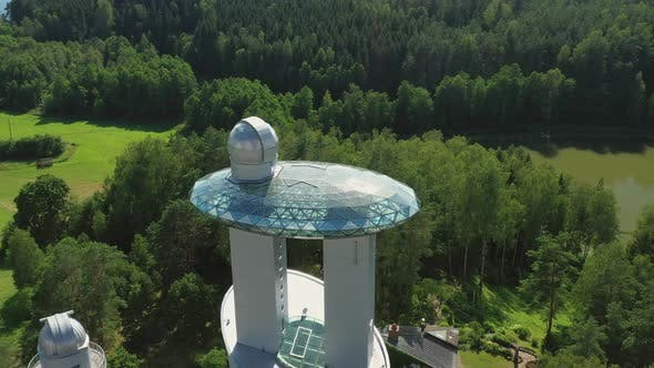 Astronomical Observatory With Glassy Rooftop and Telescope Dome