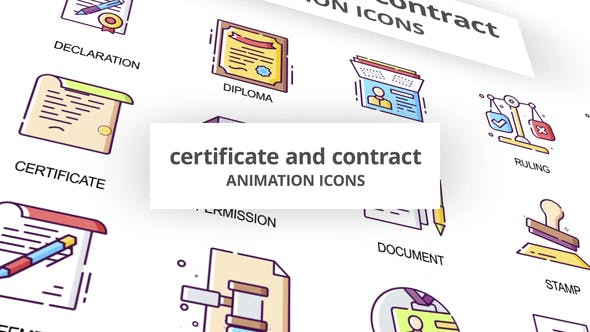 Thumbnail for Certificate & Contract - Animation Icons