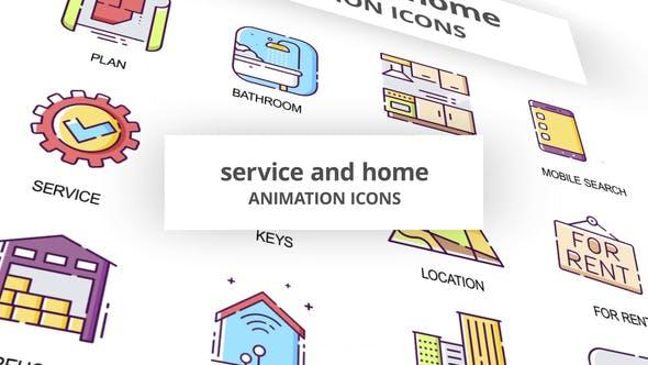 Thumbnail for Servicio y Inicio - Íconos de Animación