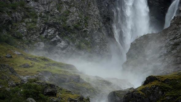 Scenic Glacial Waterfall