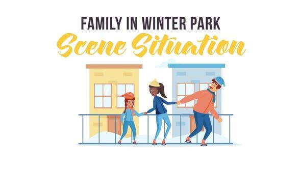 Thumbnail for Familia en el parque de invierno - Situación de la escena