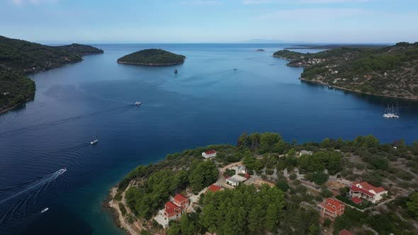 Thumbnail for Aerial View of Picturesque Green Bay at Hvar Island, Croatia.