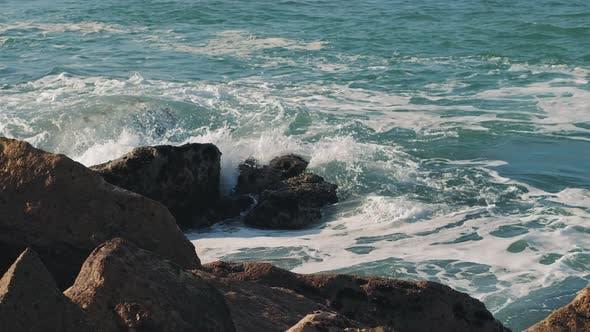 Cover Image for Ocean waves breaking over dangerous rocks in the Atlantic Ocean.