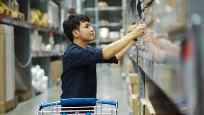 man looking and shopping in the warehouse store