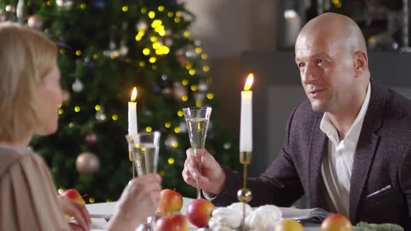 Cover Image for Handsome Caucasian Man Saying Toast for Wife at Christmas Dinner