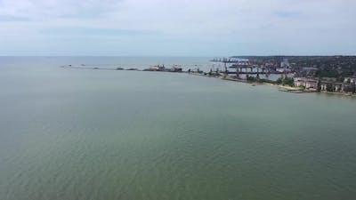 A circular panorama of the sea and the sea coast.