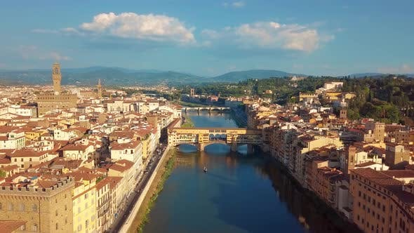 Thumbnail for Aerial View. Florence Ponte Vecchio Bridge and City Skyline in Italy. Florence Is Capital City of