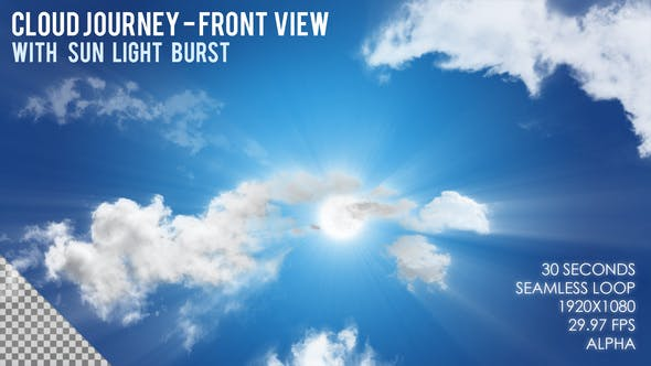Thumbnail for Cloud Journey with Sun Light Burst - Front View