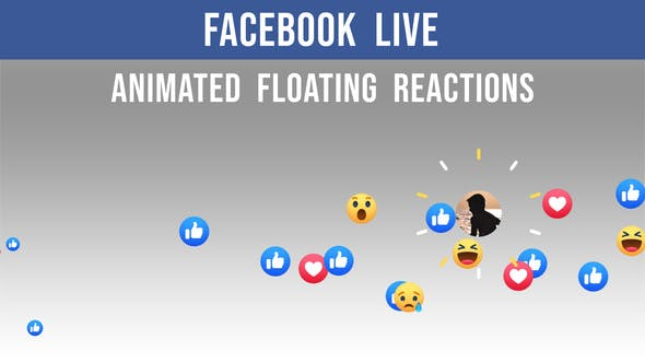 Facebook Live - Animated Floating Reactions - 2 Clips