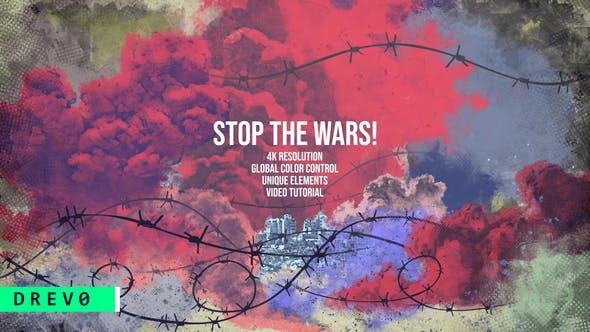 Thumbnail for Arrêtez la guerre, la terreur, la remorque de la guerre mondiale/le fil barbelé/la bombe, les explosions/la fumée, les ruines, la crise, la mort