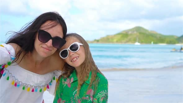 Thumbnail for Beautiful Mother and Little Daughter on Caribbean Beach, Family Taking Selfie on Tropical Seashore