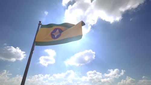 Bucaramanga City Flag on a Flagpole V4
