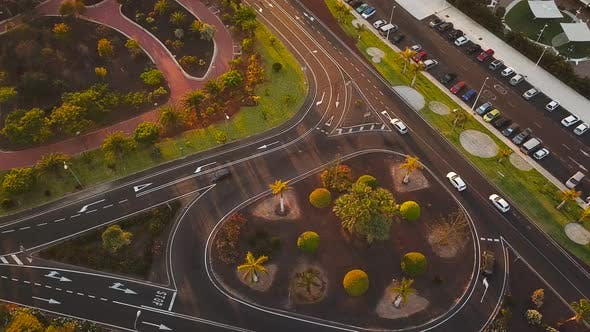 Top View of a Traffic on the Road and the Panorama of Los Cristianos on Tenerife Canary Islands