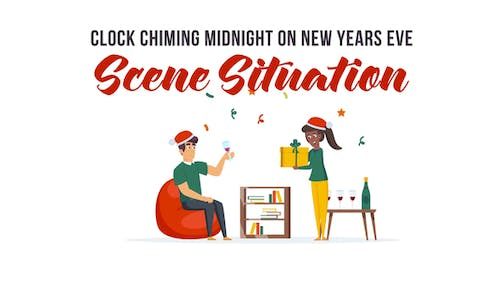 Clock chiming midnight on New Years Eve - Explainer Elements