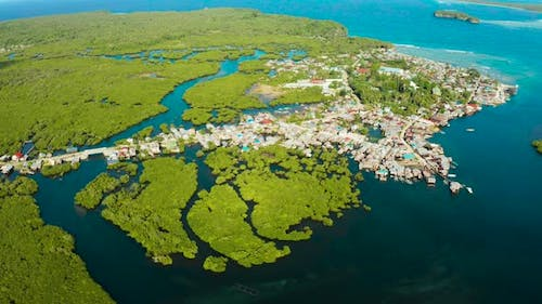 Aerial View The Town Is in Mangroves. Siargao,Philippines.