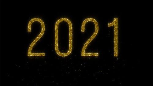 Year 2021 - Shiny Golden Glitter Text on Black BG - 4K