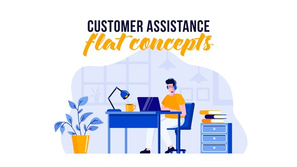 Thumbnail for Customer assistance - Flat Concept