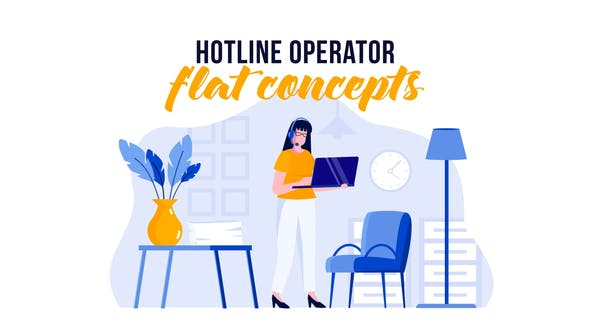 Thumbnail for Hotline operator - Flat Concept