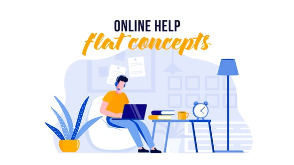 Thumbnail for Online help - Flat Concept