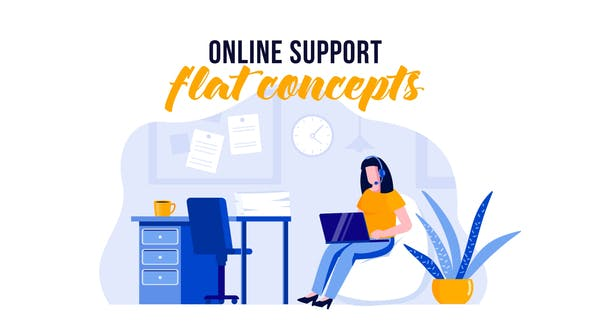 Thumbnail for Online support - Flat Concept