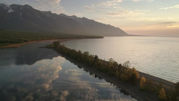 Thumbnail for Aerial Footage Above Mountain Lake at Morning