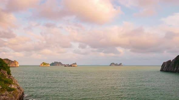 Thumbnail for Time lapse: sunset at Ha Long Bay view from Cat Ba island Vietnam