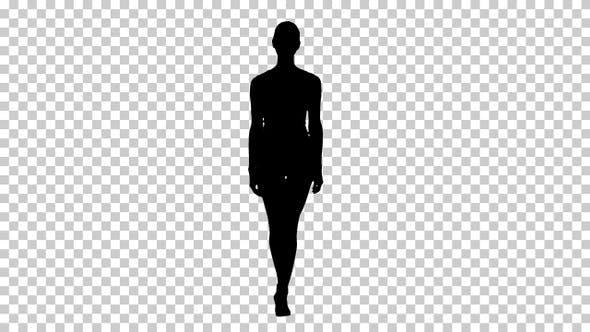 Thumbnail for Silhouette Sportliche Frau zu Fuß, Alpha Channel