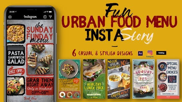 Thumbnail for Fun Urban Food Menu Instagram Stories