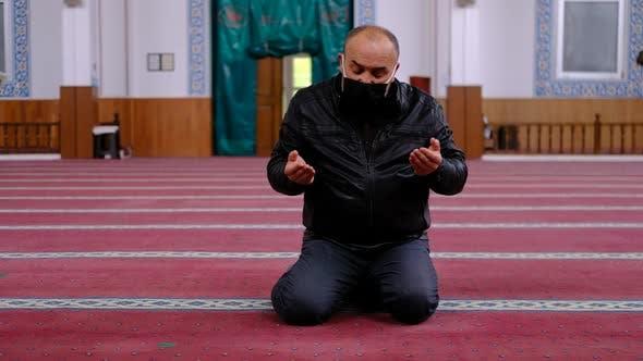 Old Man Masked Hands Praying Mosque