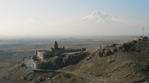 Aerial View of Khor Virap Monastery in Armenia
