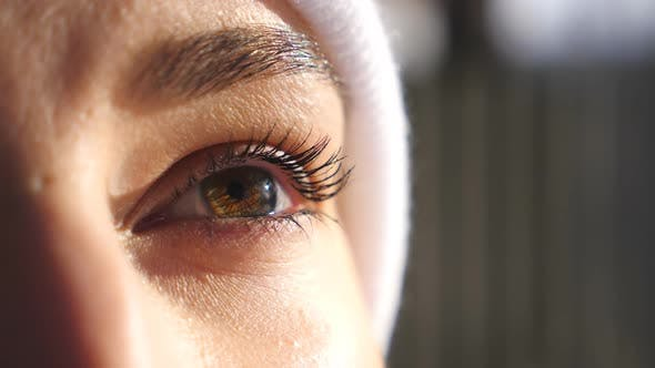 Thumbnail for Detail View on Face of Woman with Brown Eyes Admiring Beautiful Winter Views. Attractive Brown-eyed