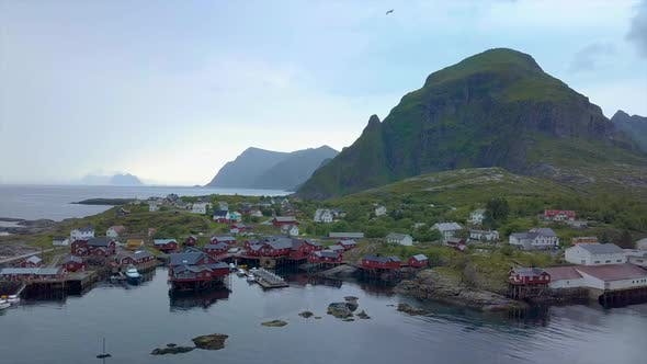 Thumbnail for Aerial View of Small Fishing Village in Norway