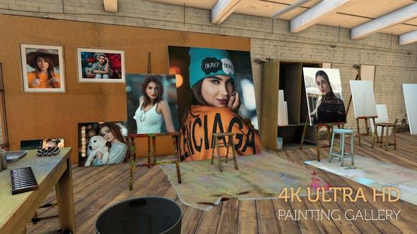 Thumbnail for Photos on canvas in an Artist studio