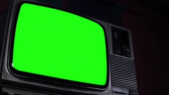 Thumbnail for Old Television Set with Green Screen. Low Angle View.