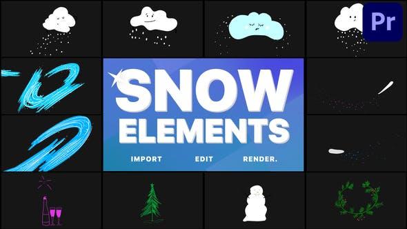 Cartoon Snow Clouds | Premiere Pro MOGRT