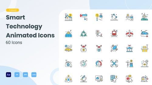 Animated Smart Technology Icons (GIF, Lottie, AEP, MP4)