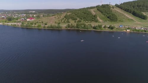 Aerial view of Summer vacation at the city pond in small provincial town 27