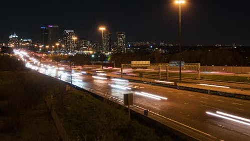 Toronto, Canada, Timelapse  - The Ontario 401 Highway at Night as seen from a bridge
