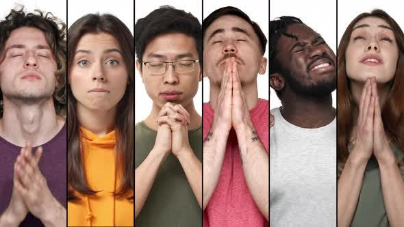 Multiscreen Collage of Diverse Young People Praying Pleading for Help