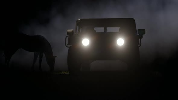 Thumbnail for Horse and Off-Road Vehicle on Foggy Background