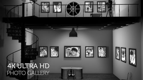 Black and White Photo Gallery in an Industrial style Loft at Night