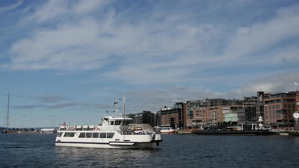 Ferry arriving in the harbor of Oslo